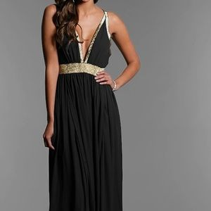 Prom Girl Back and Gold Formal Dress CQ by CQ